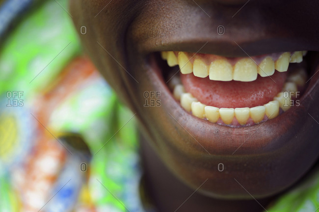 Close up portrait of African boy smiling