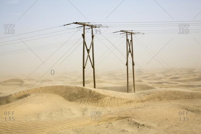 Power lines in desert