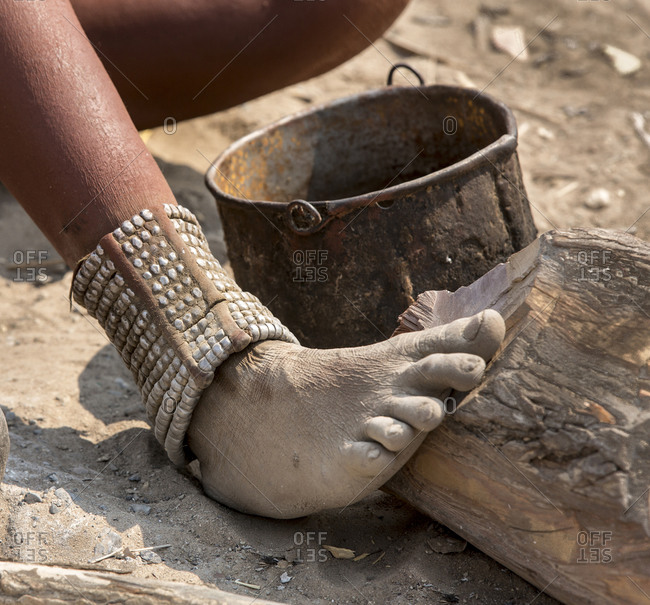 Himba woman's foot and ankle adornment