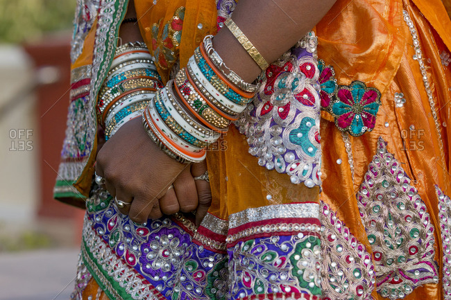 Colorful wedding costumes and sari