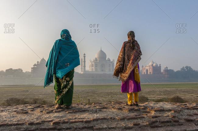 Women walking Mehtab Bagh - Offset