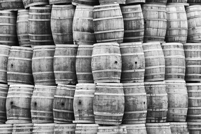Large stack of wine barrels