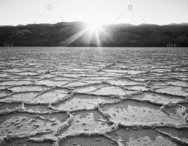 Sunburst on Badwater salt flats, Death Valley National Park
