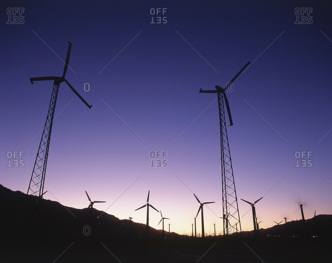 View of wind turbines at sunset, Palm Springs