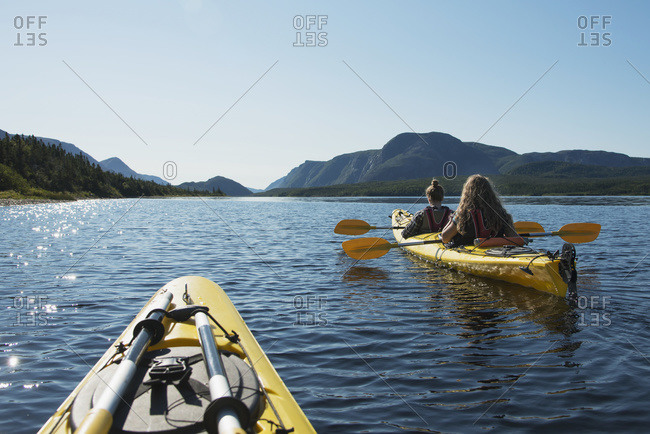 Kayaking in Gros Morne National Park, Trout River, Newfoundland, Canada
