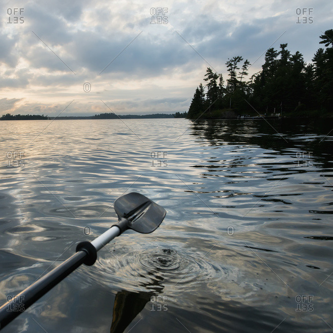 A paddle rowing on a tranquil lake at sunset, Ontario, Canada