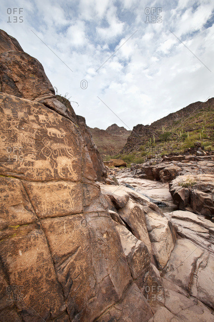 Petroglyphs at the Hieroglyphic Canyon Trail, at Gold Canyon, Superstition Mountain Range, Arizona, United States of America