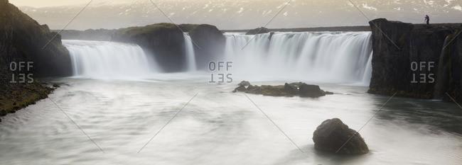 Panoramic view of Gooafoss waterfall, Iceland