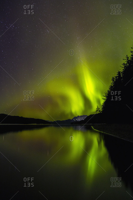 Northern Lights as seen from Echo Cove, Lions Head and Berners Bay in the distance, Tongas National Forest, Juneau, Alaska, United States of America