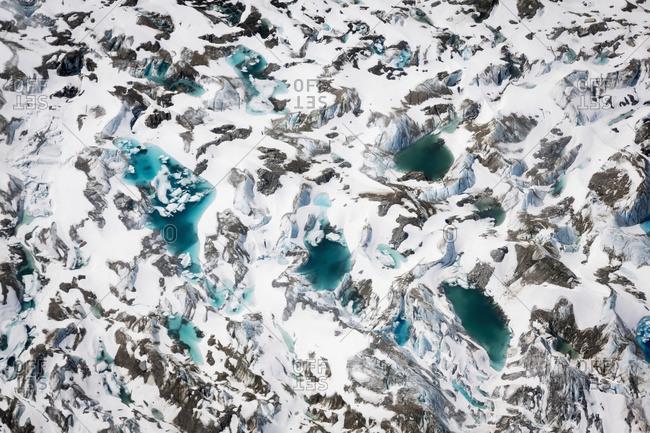 Aerial view of a glacier in the Alaska range, Interior Alaska, Alaska, United States of America