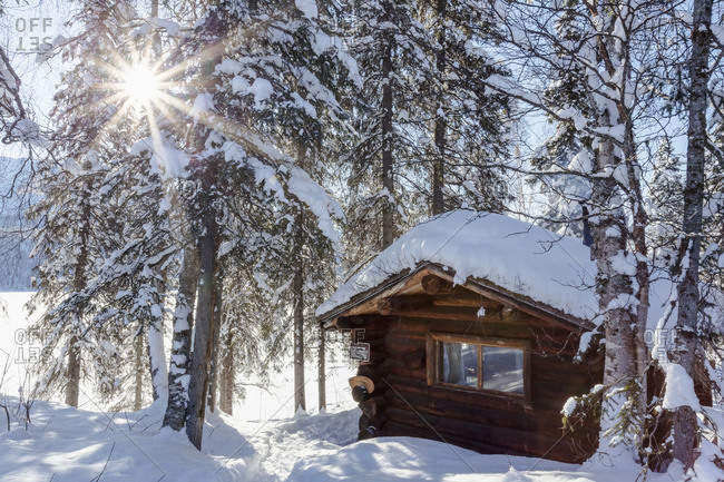 View of a public use log cabin at Byers Lake in fresh snow under a sun burst, Interior Alaska, Alaska, United States of America