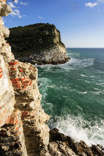 Cliffs along the coastline of the Italian Riviera, Porto Venere, Liguria, Italy