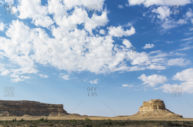 Fajada Butte and Chacra Mesa in the Chaco Culture National Historical Park, New Mexico, United States of America