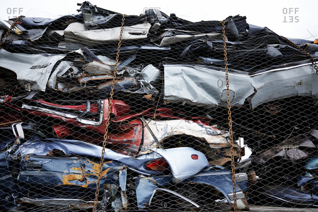 Crushed cars at Bickerdike Port in Old Montreal, Montreal, Quebec, Canada