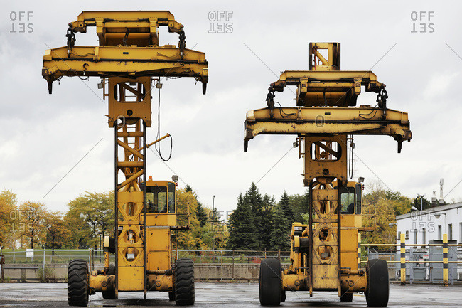 Fork Lifts at Bickerdike Port in Old Montreal, Montreal, Quebec, Canada