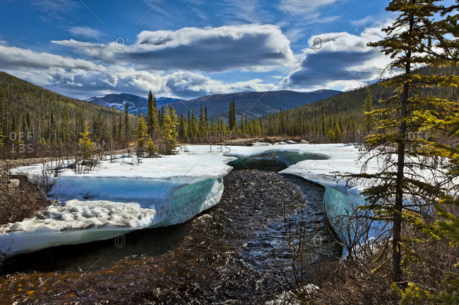 Monument Creek meanders through melting snow in early spring, Chena River State Recreation Area, Fairbanks, Alaska, United States of America