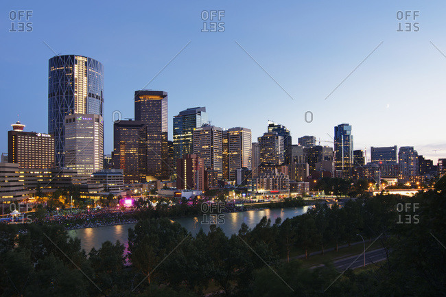 North American city skyline with skyscrapers at dusk, Calgary, Alberta, Canada