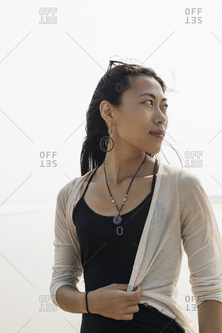 Portrait of a young woman looking back, HuoHu, Taiwan