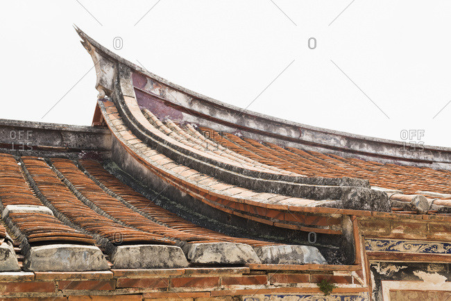 Roof with the classic Taiwanese style in the folk culture village, Pensive lady, Taiwan