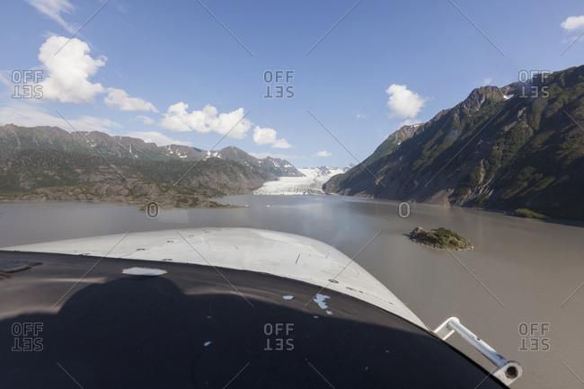POV view from the cockpit of Grewingk Glacier and Kachemak Bay, Kachemak Bay State Park, South-central Alaska, Summer