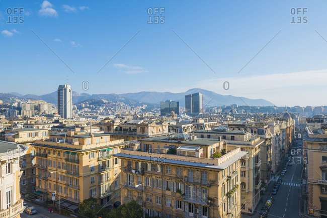 Cityscape and mountains in the distance, Genoa, Liguria, Italy