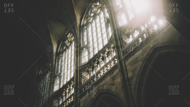 Daylight through the windows of St Vitus Cathedral at Prague Castle, Prague, Czech Republic