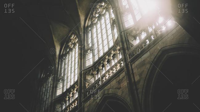 Daylight through the windows of St Vitus Cathedral at Prague Castle, Prague, Czech Republic