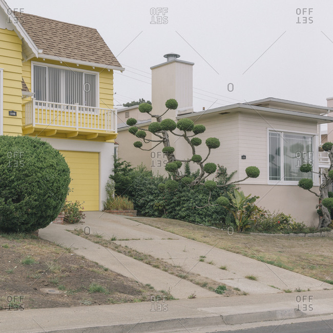 Pastel colored houses in Daly City, California