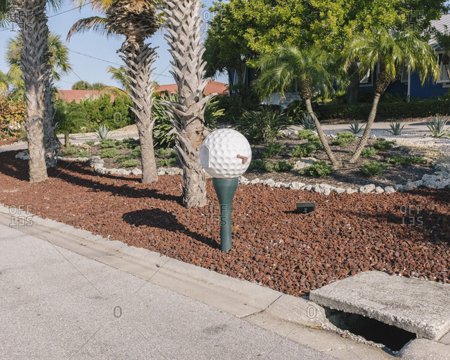 Golfball mailbox of house in Florida