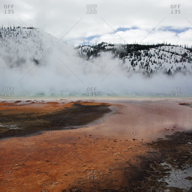 Thermal features in Yellowstone National Park, Wyoming in winter