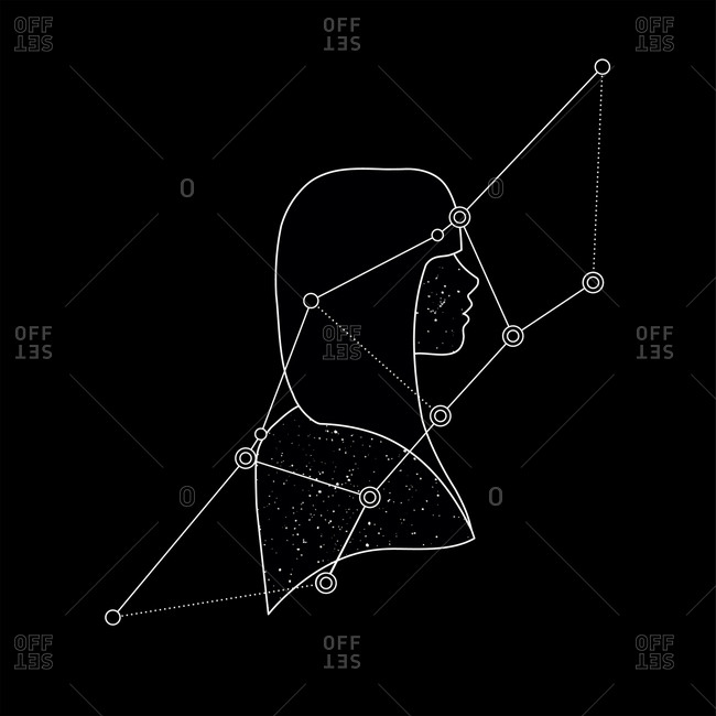 Outline of a woman's profile with geometric lines