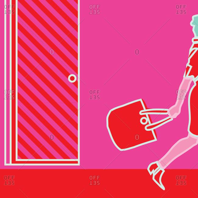 Woman walking with a handbag
