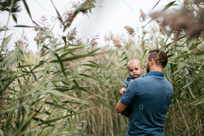Infant boy looking over the shoulder of father in a field of tall grass