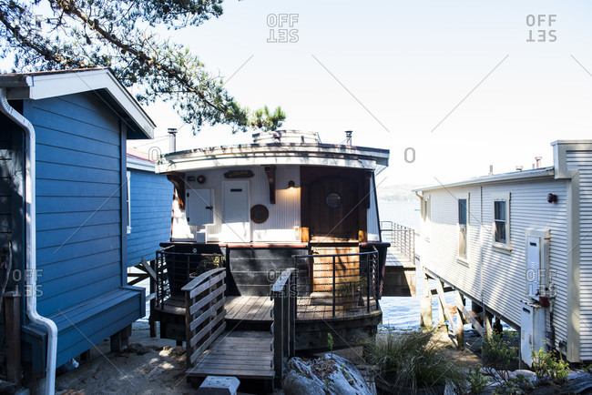 Houseboat cottage in the historic settlement of Nick's Cove, Marshall, California
