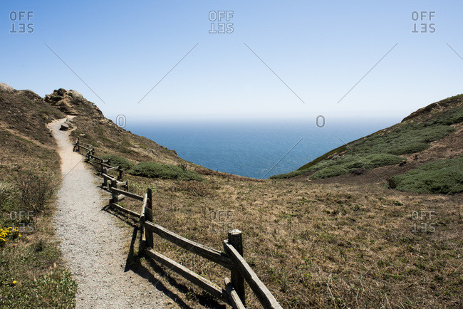 Fenced trail on cliffs at Point Reyes National Seashore