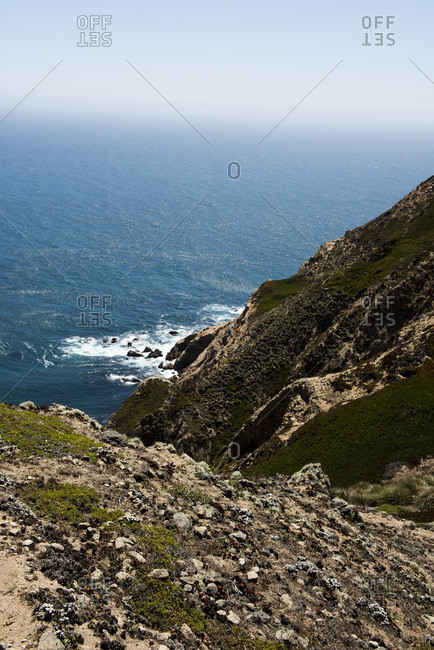 Steep cliffs above the Pacific Ocean at Point Reyes National Seashore