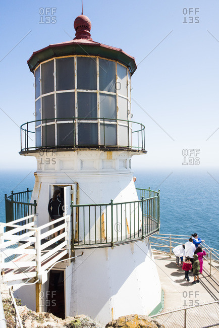 January 13, 2015: Family visiting the Point Reyes Lighthouse, California