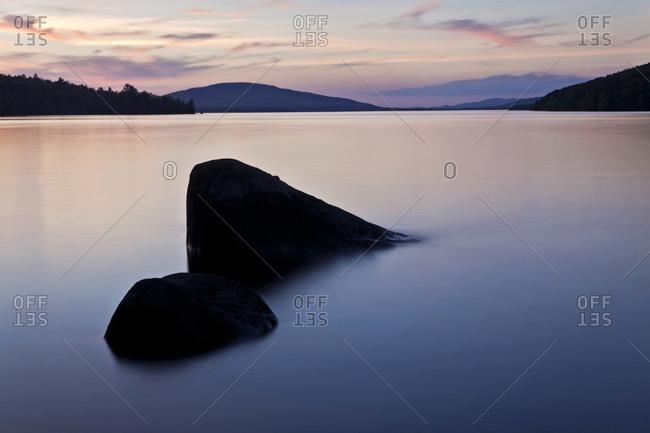 The sun sets over Flagstaff Lake, Maine