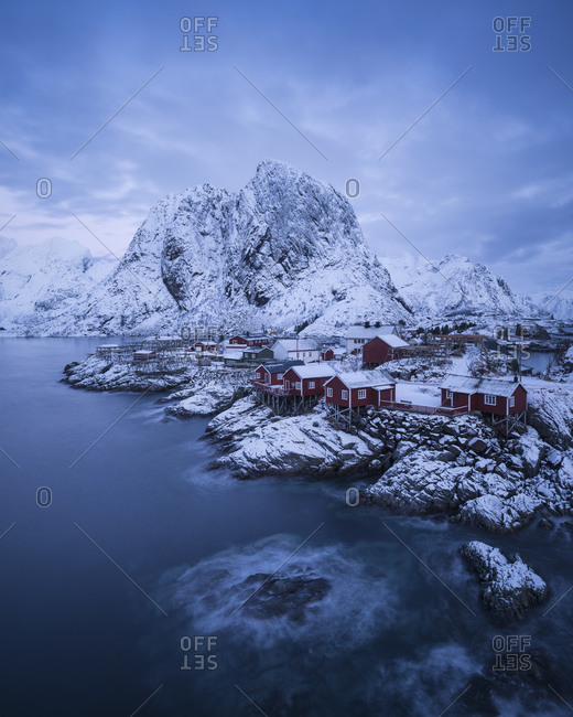 Classic winter view of small island of Hamnoy, Reine, Moskenesoy, Lofoten Islands, Norway