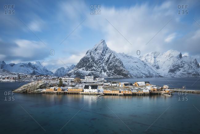 Winter view over Colorful rorbu cabins of Sakrisoy, Reine, Moskenesoy, Lofoten Islands, Norway