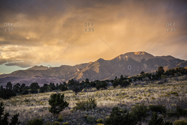 Mountains at sunset in southwestern Colorado