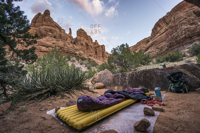 Sleeping pad and sleeping bag on ground sheet in Desert Canyon