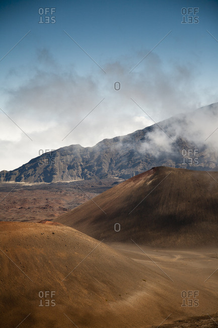 Volcanic cones within the high-elevation volcanic Haleakala crater
