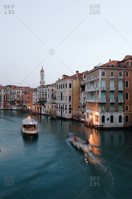 Grand Canal in Venice, Italy from the Rialto Bridge in early morning