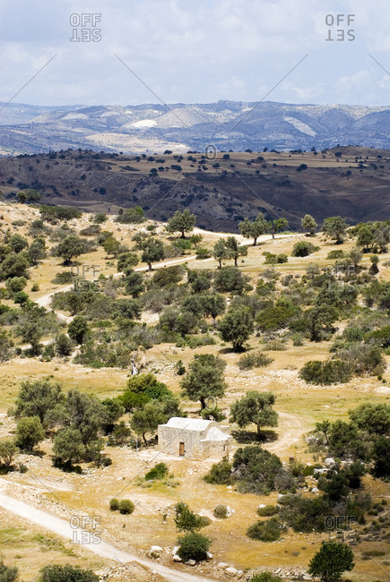 Arid lands typical of the beginning of the Troodos mountains between Paphos and Limassol in Cyprus