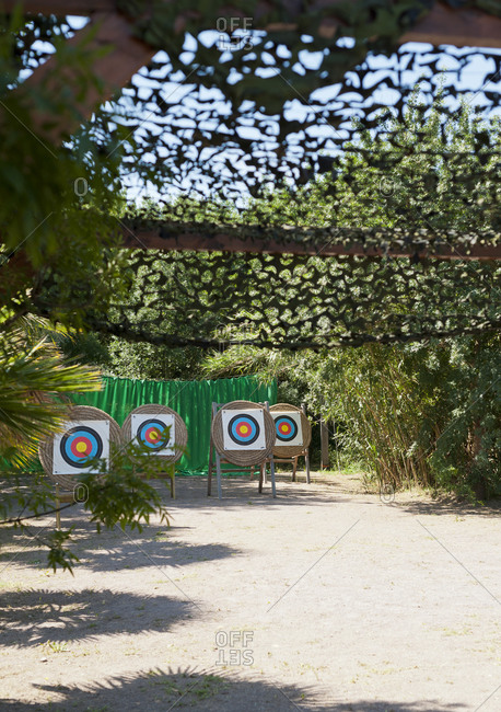 Round targets at an archery range