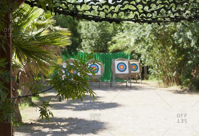 Archery practice range with round targets