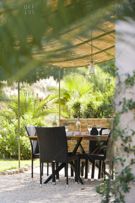 Patio furniture in French rural setting