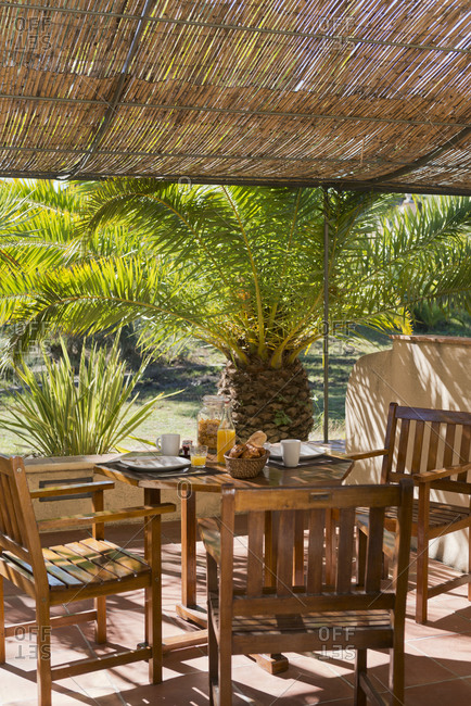 Outdoor dining table set for breakfast