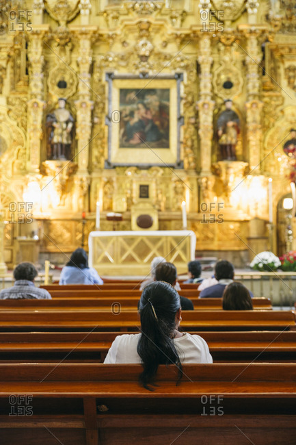 Church goers at a cathedral in Mexico City